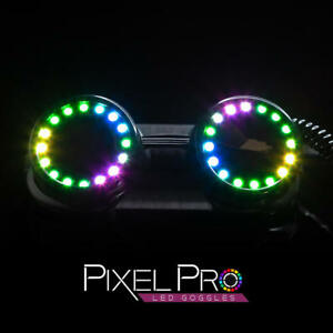 GloFX Pixel Pro LED Goggles with Pads Intense Multi-colored 350 Modes Rave EDM