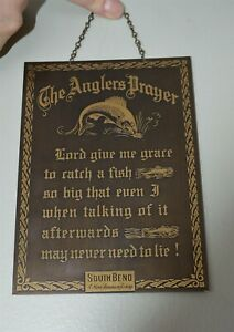 Vintage Brass Fishing Lure Company Plaque South Bend Fisherman's Prayer COOL!
