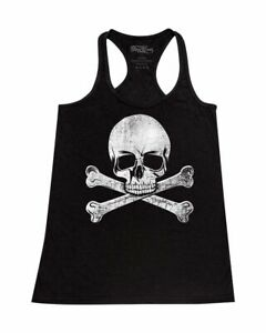 Pirate Skull Crossbones Distressed Racerback Tank Top Jolly Roger Halloween Tee