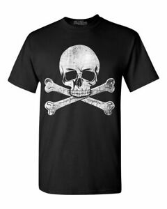 Pirate Skull Crossbones Distressed T shirt Jolly Roger Halloween Shirts