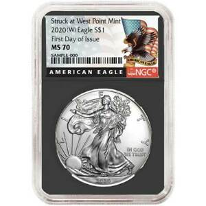 2020 (W) $1 American Silver Eagle NGC MS70 FDI Black Label Retro Core $51.59