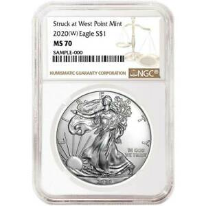 2020 (W) $1 American Silver Eagle NGC MS70 Brown Label $46.91