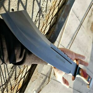 19 Full Tang HUNTING MACHETE KNIFE w SHEATH Military Fixed Blade Wood Handle