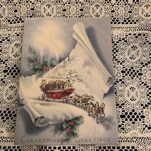 Vintage Greeting Card Christmas Stage Coach Scroll Candles $3.00