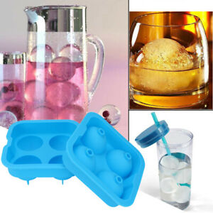 Round Ice Balls Maker Tray FOUR Large Sphere Molds Cube Whiskey Cocktails