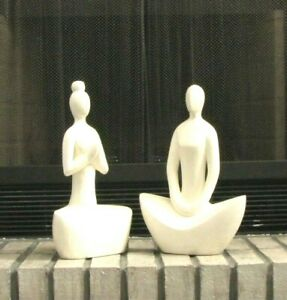 Wood sculpture lady yoga pose set of 2hand carved white copper finish.