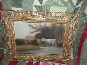 antique oil painting or print  landscape cow bull framed