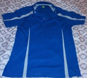 2UNDER GOLF POLO SHIRT BLUE WHITE SIDE STRIPES SIZE LARGE $4.17