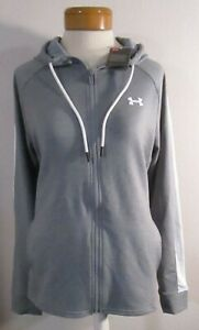 NWT Under Armour Womens UA Featherweight Fleece Full Zip Hoodie L Steel MSRP$70 $31.99