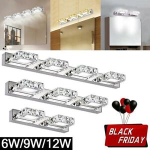 Modern Bathroom LED Crystal Mirror Front Make-up Wall Light Toilet Vanity Light
