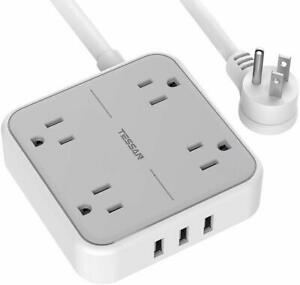 TESSAN Mountable Power Strip with 3 USB Ports4 Outlets and 5ft Extension Cord