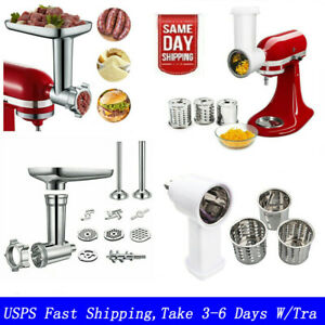 Meat Grinder & Pouring Shield Attachment For Kitchen Aid Stand Mixer 6 Wire Whip