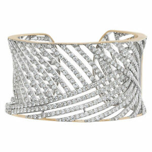 Geometric design diamond cuff with 19.51 carats full cut round brilliant...