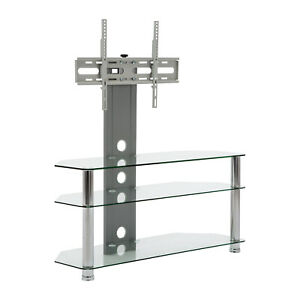 TV Stand With Swivel Mount Clear Glass 3 Tier For 50
