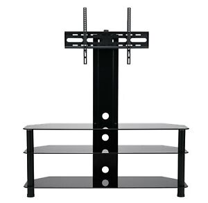 TV Stand With Swivel Mount Black Glass 3 Tier For 55