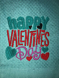 Embroidered Teal Kitchen Hand Towel   Happy Valentine's Day  BS1920