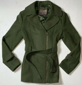 Preowned Guess Front Zip Lined Peacoat Womens Size M $64.00