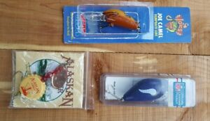 Vtg Lot of 3 Lures FRED ARBOGAST NFL Vikings JOE CAMEL Humpy Alaskan Amber Cap