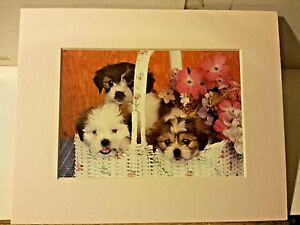 Portal Publications 1988 Puppies in Basket Ron Kimbal Lithograph 100 CP032 27 $14.99
