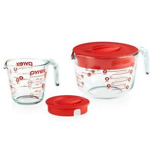 Pyrex 4-Piece Lidded Measuring Cup Set One 8 Cup  One 2 Cup  Two Lids NIB