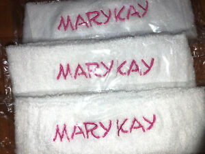 Embroidered 3 pc White Terry Headbands - Mary Kay Inspired Pink Thread colors