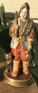 RARE ANTIQUE JAPANESE PORCELAIN KUTANI SATSUMA HUNTER WARRIOR FIGURINE FIGURE