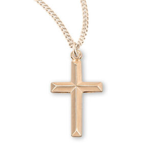 Gold Over Sterling Silver Angle Edged Cross $42.55