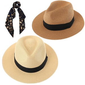 2 Packs Beach Hat for Women Summer Straw Sun Hat Panama Hat Ivory and Tan Color