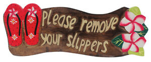 Island Home Wood Sign Please Remove Your Shoes Slippers Plumeria Red