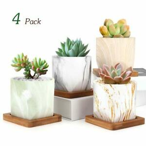 Luxspire 2.8In Small Succulent Pots Set of 4 Ceramic Porcelain Succulent Cactus