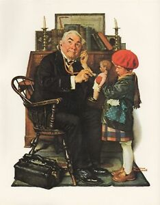 NORMAN ROCKWELL print quot;DOCTOR AND DOLLquot; little girl office Lithograph 8quot; x 10quot; $5.99