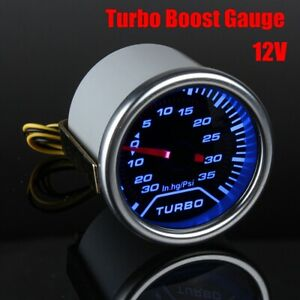 Universal Car 2'' Blue LED PSI Turbo Boost Gauge Pressure Vacuum Smoked
