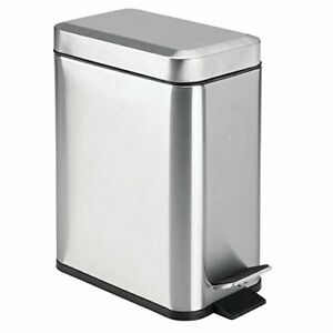Small Metal Trash Can Lid Step on Touchless Foot Pedal Bathroom Stainless Steel