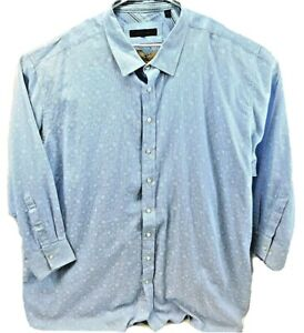 SYNRGY Casual Front Button 5XL Mens Cotton Long Sleeve Shirt Blue White $24.56