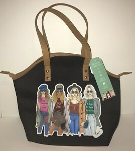 Rongrong DeVoe Insulated Fashion Lunch Tote Purse Black Fit-Fresh Friend Art