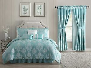 Simsbury 7-Piece Aqua Blue Silver Floral Jacquard Comforter or 4pc Curtain Set