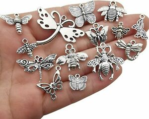 9 Bee Charms Butterfly Pendants Antiqued Silver Assorted Set Insect Wasp $4.10