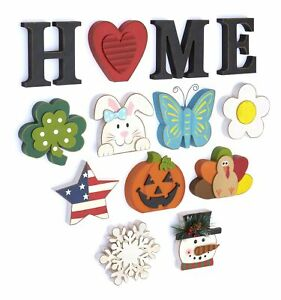 Wooden Decorative Home Signs with Letters Pumpkin Turkey Snowflake 13 Pc.