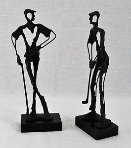 Pair of Arts and Crafts metal sculptures of golf players. 13quot; Tall BI#MK 170620 $129.95