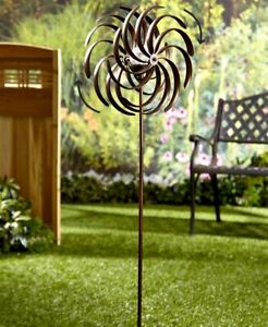 Solar Powered Garden Spinner Double Spiral Wind Sculpture for Yards and Patios $33.98