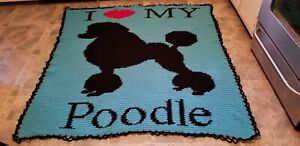 HANDMADE HAND CROCHETED I LOVE MY POODLE DOG AFGHAN BLANKET THROW