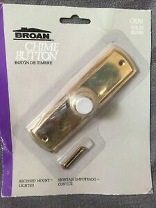 Broan Solid Brass Doorbell Button Chime Push Lighted Lit Recessed Plate Round