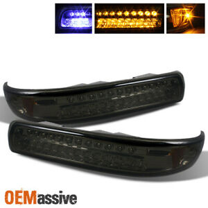 Fits Smoked 99 02 Silverado 00 Tahoe Suburban Full LED Bumper Signal Lights Set