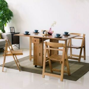 Homary Modern Wood Folding Dining Table Set 58quot; 5 Piece Dining Table amp; 4 Chairs $794.99