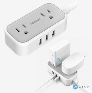 Travel Protable Power Strip with 3 USB Charger Ports & 2 Widely Spaced Outlets