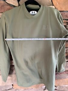 UNDER ARMOUR LS T SHIRT Army Green Polyester Elastane, Nylon Boy's XL, EUC $12.99