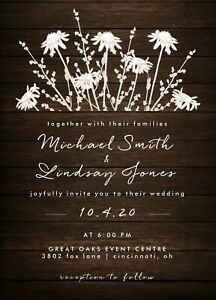 Rustic Country Wild Flowers & Wood Wedding Invitations 50