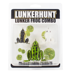 Lunkerhunt 3 Piece Lunker Frog Combo Bass Fishing Hollow Body Topwater Frogs