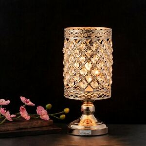Gold Bedside Table Lamp Hanging Clear Crystal Lamp Shade Decorative Metal Base