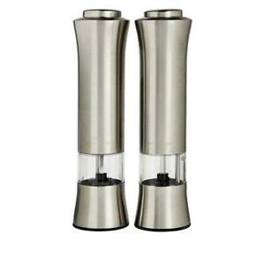 Wolfgang Puck 2-pack Adjustable Stainless Steel Push-button Spice Mills Silver